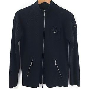 Jamie Sadock Sweater Black Zip Up Knit Cardigan